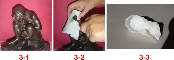 3-1: escultura. 3-2: aplicación del papel. 3-3: el molde resultante. (Fotos de Eureka! Licencias CC)