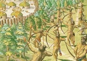 Jacques Le Moyne de Morgues. Ataque a una villa india con flechas ardientes. Fuente