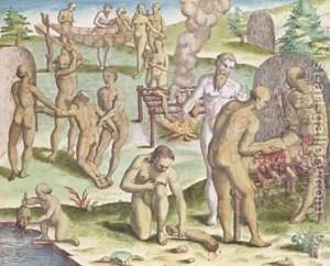 Jacques Le Moyne de Morgues. Escena de canibalismo. Fuente