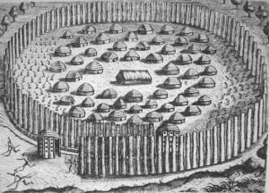 Ciudad nativa de Florida que muestra una fortificación y casas con techos de paja. Es un grabado de Theodore de Bry hecho en 1591 y basado en pintura Jacques le Moyne de Morgues había concluído poco después de su llegada al Nuevo Mundo en 1564 (De Lorant 1946:95). Fuente